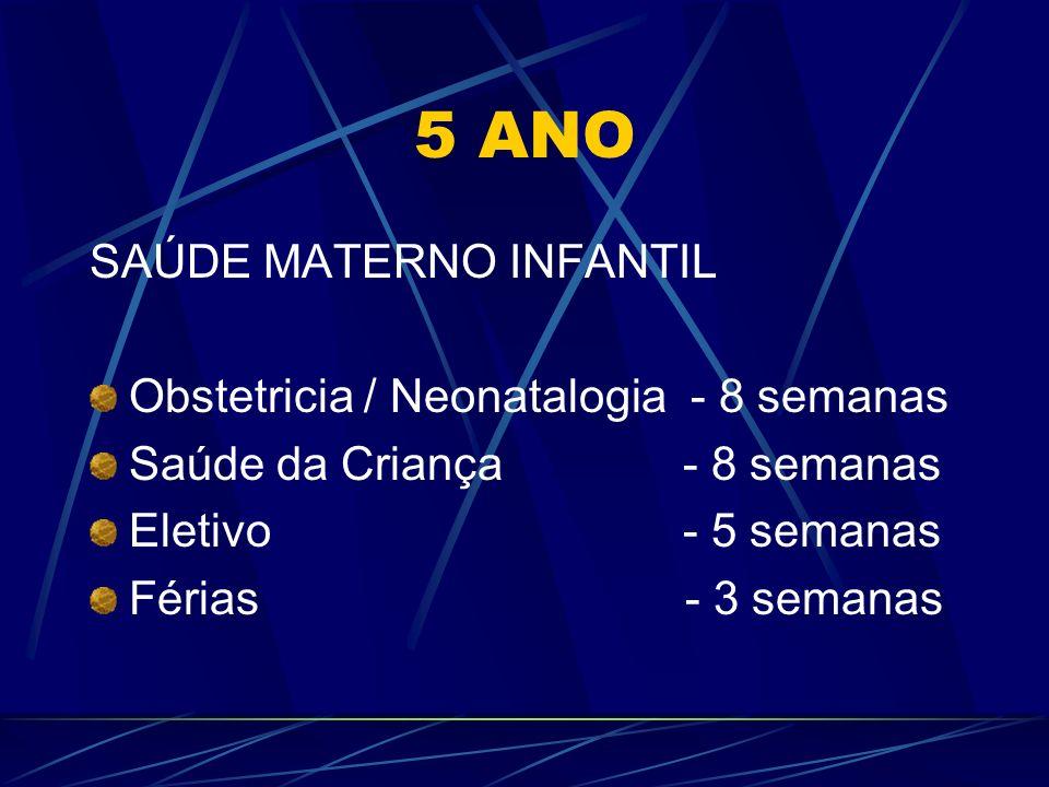 5 ANO SAÚDE MATERNO INFANTIL Obstetricia / Neonatalogia - 8 semanas Saúde da Criança - 8 semanas Eletivo - 5 semanas Férias - 3 semanas