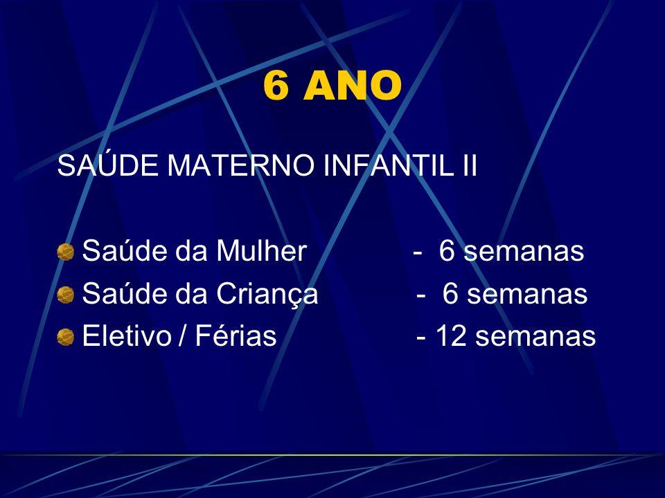 6 ANO SAÚDE MATERNO INFANTIL II Saúde da Mulher - 6 semanas Saúde da Criança - 6 semanas Eletivo / Férias - 12 semanas