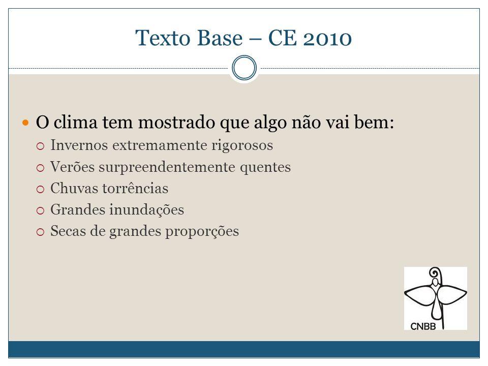 Texto Base – CE 2010 No Brasil: Na Amazônia, grandes secas e grandes inundações No Nordeste, enchentes assustadoras Nos Estados do sul, violentos temporais, tornados, altas temperaturas