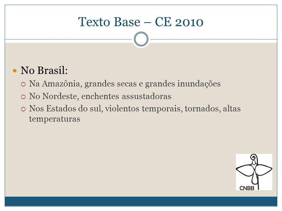 Texto Base – CE 2010 Existem várias maneiras de olhar a questão: Científica: meteorologia, economia, direito, sociologia, geografia,etc.
