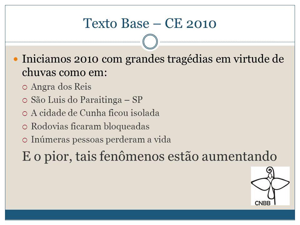 Texto Base – CE 2010 A pergunta que se coloca é: Por que estas coisas estão acontecendo?.