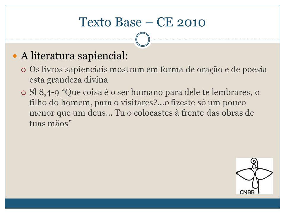 Texto Base – CE 2010 Portanto, a responsabilidade para com a criação e sua conservação, não se constitui em mera: QUESTÃO ECOLÓGICA RESPONSABILIDADE DECORRENTE DA FÉ NO DEUS CRIADOR E NO SEU FILHO ENCARNADO