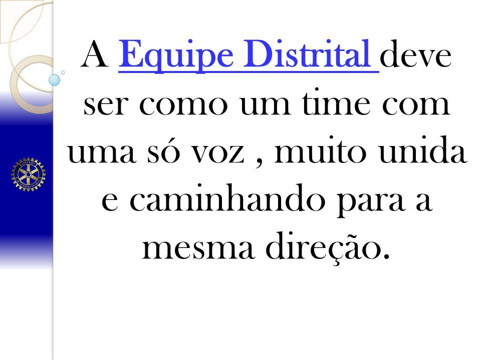 A Equipe Distrital deve ser como um time com uma só voz, muito unida e caminhando para a mesma direção.