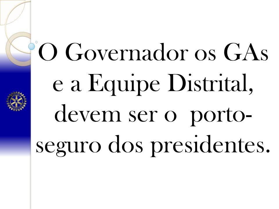 O Governador os GAs e a Equipe Distrital, devem ser o porto- seguro dos presidentes.