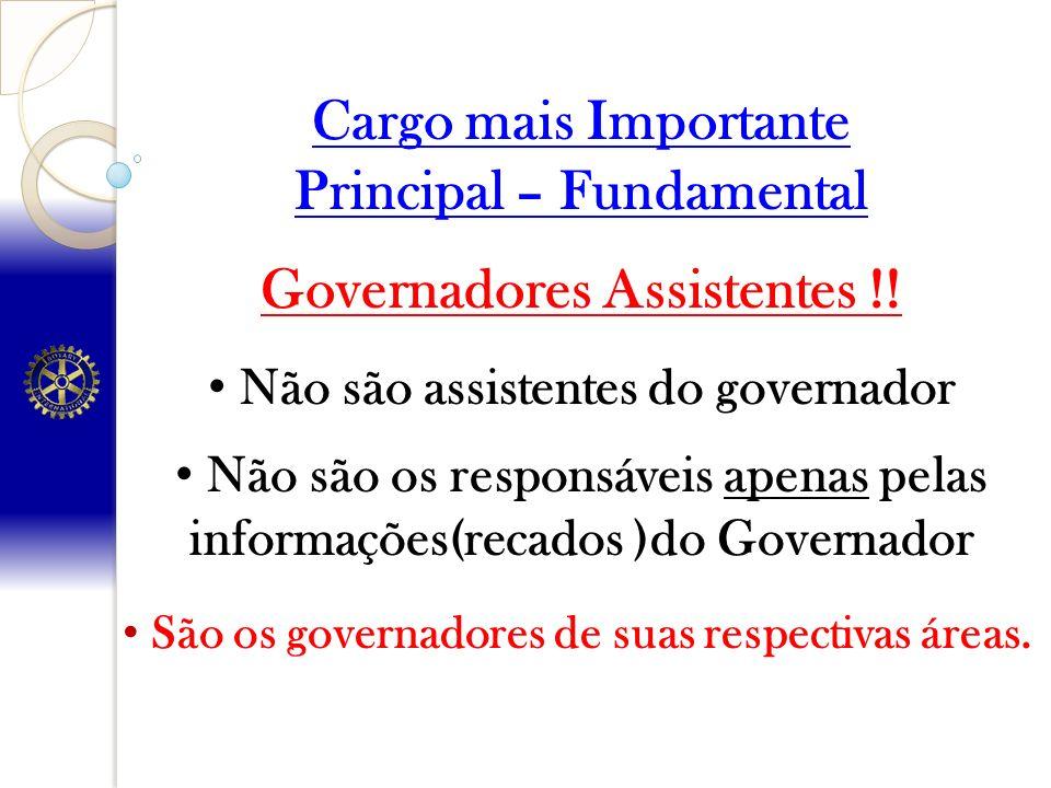 Cargo mais Importante Principal – Fundamental Governadores Assistentes !! Não são assistentes do governador Não são os responsáveis apenas pelas infor