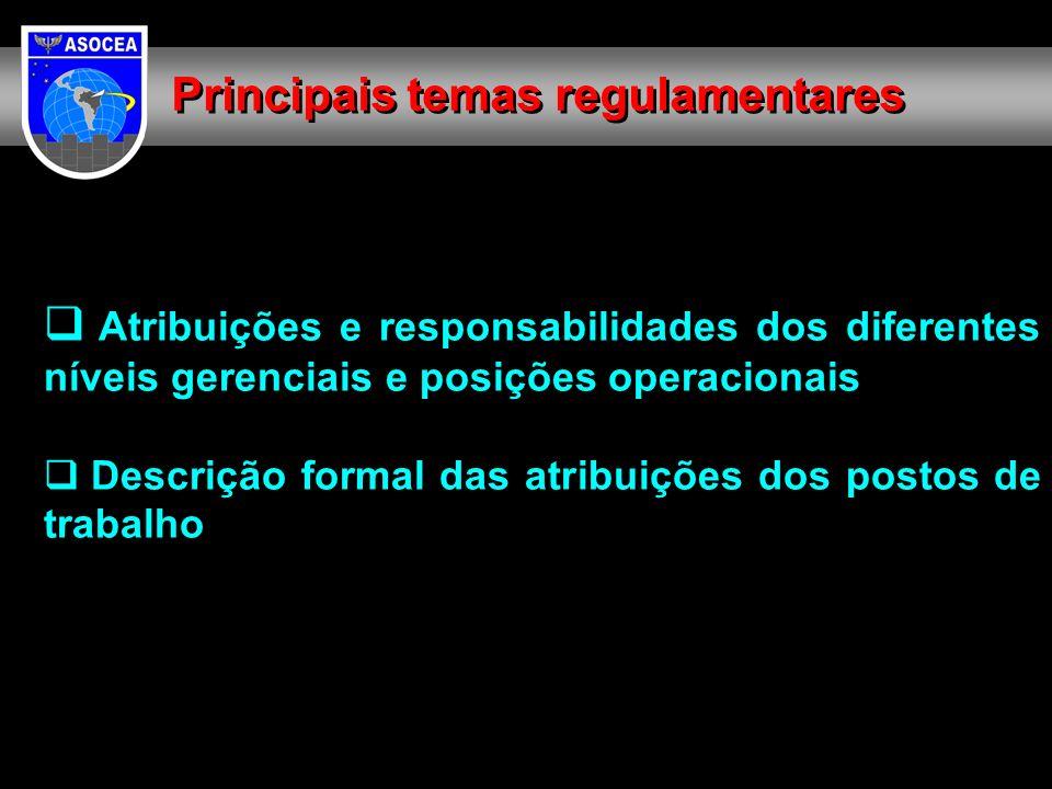 Atribuições e responsabilidades dos diferentes níveis gerenciais e posições operacionais Descrição formal das atribuições dos postos de trabalho Principais temas regulamentares