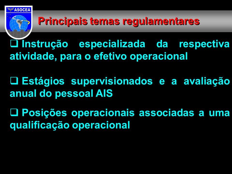 Instrução especializada da respectiva atividade, para o efetivo operacional Estágios supervisionados e a avaliação anual do pessoal AIS Posições operacionais associadas a uma qualificação operacional Principais temas regulamentares