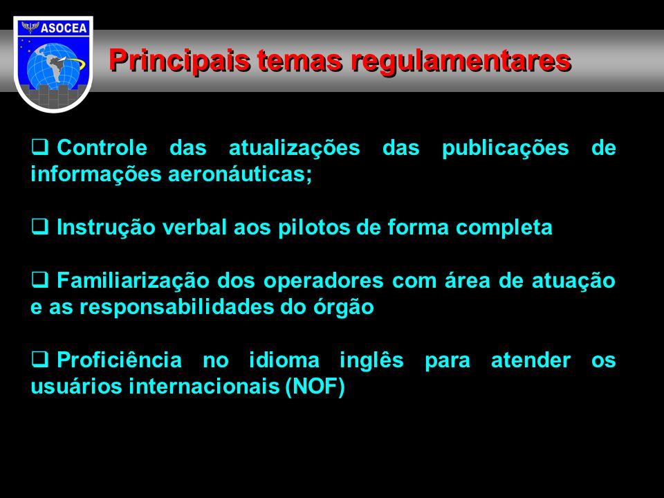 Controle das atualizações das publicações de informações aeronáuticas; Instrução verbal aos pilotos de forma completa Familiarização dos operadores com área de atuação e as responsabilidades do órgão Proficiência no idioma inglês para atender os usuários internacionais (NOF) Principais temas regulamentares