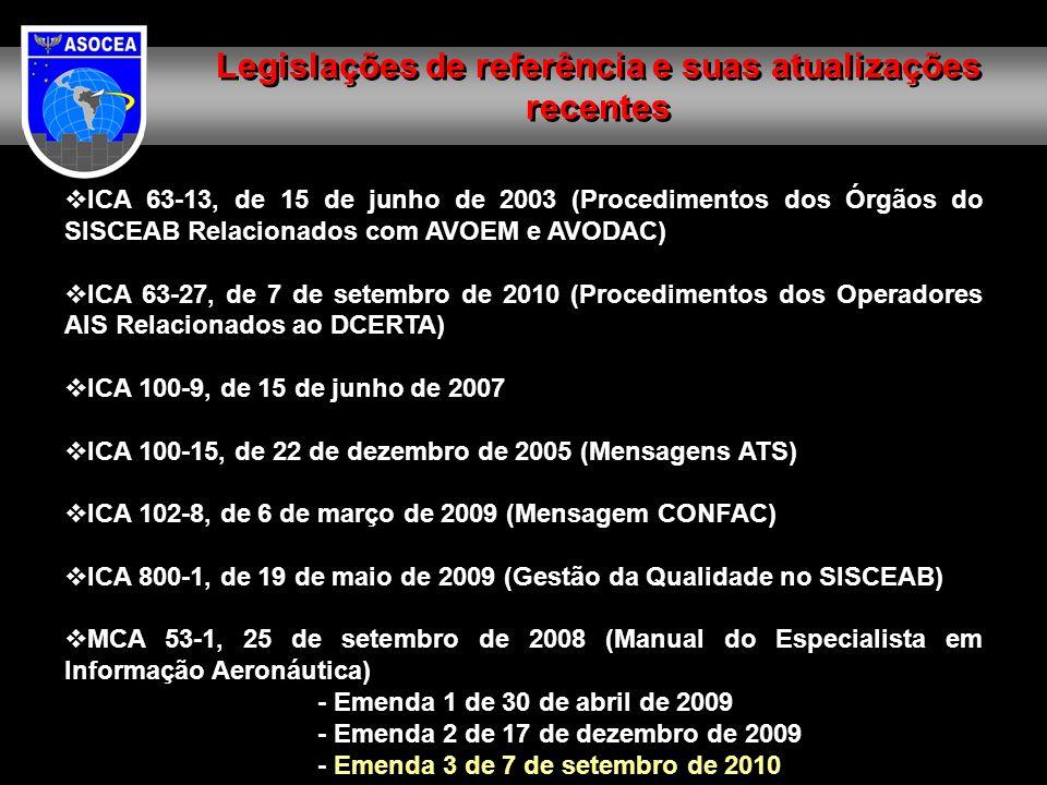ICA 63-13, de 15 de junho de 2003 (Procedimentos dos Órgãos do SISCEAB Relacionados com AVOEM e AVODAC) ICA 63-27, de 7 de setembro de 2010 (Procedimentos dos Operadores AIS Relacionados ao DCERTA) ICA 100-9, de 15 de junho de 2007 ICA 100-15, de 22 de dezembro de 2005 (Mensagens ATS) ICA 102-8, de 6 de março de 2009 (Mensagem CONFAC) ICA 800-1, de 19 de maio de 2009 (Gestão da Qualidade no SISCEAB) MCA 53-1, 25 de setembro de 2008 (Manual do Especialista em Informação Aeronáutica) - Emenda 1 de 30 de abril de 2009 - Emenda 2 de 17 de dezembro de 2009 - Emenda 3 de 7 de setembro de 2010 Legislações de referência e suas atualizações recentes