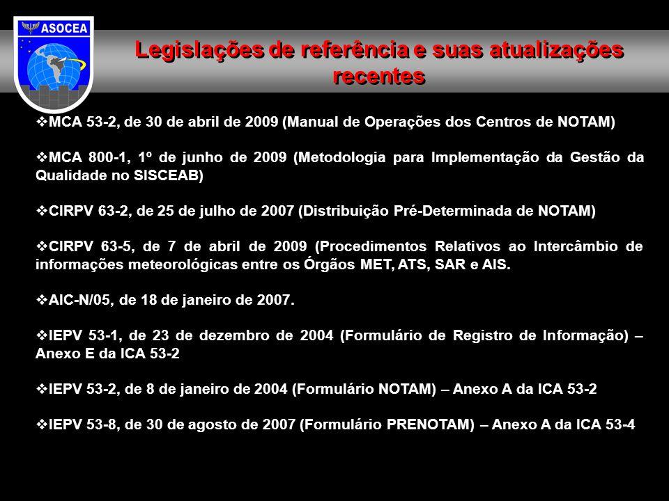 MCA 53-2, de 30 de abril de 2009 (Manual de Operações dos Centros de NOTAM) MCA 800-1, 1º de junho de 2009 (Metodologia para Implementação da Gestão da Qualidade no SISCEAB) CIRPV 63-2, de 25 de julho de 2007 (Distribuição Pré-Determinada de NOTAM) CIRPV 63-5, de 7 de abril de 2009 (Procedimentos Relativos ao Intercâmbio de informações meteorológicas entre os Órgãos MET, ATS, SAR e AIS.