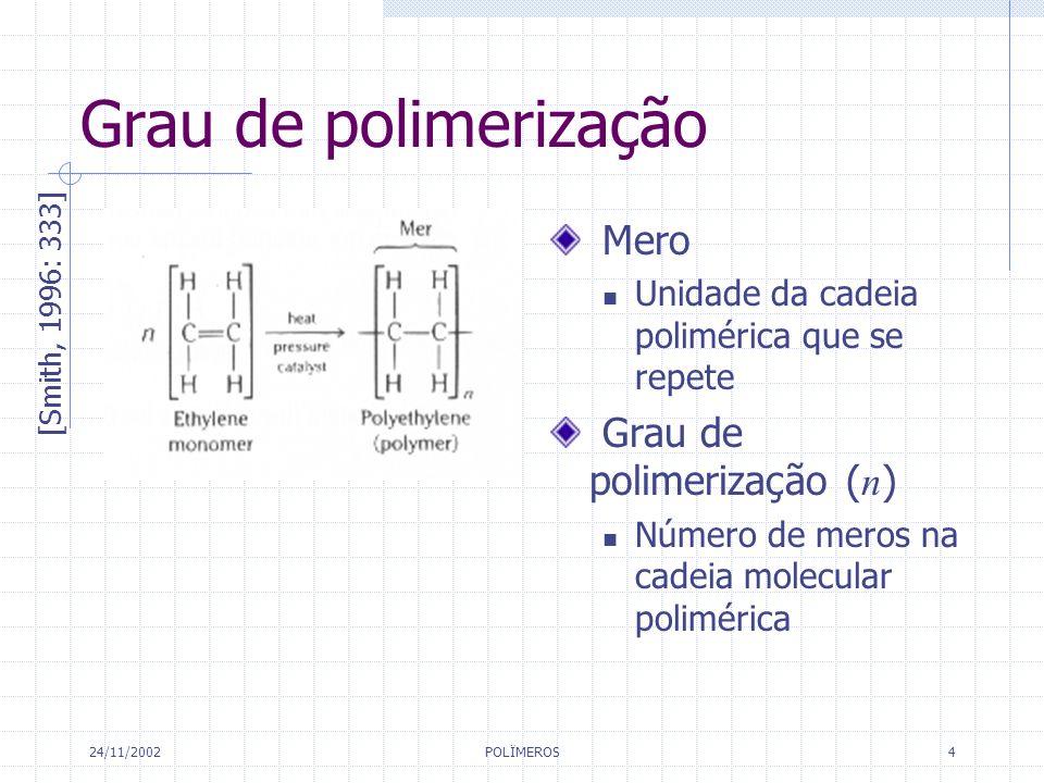 24/11/2002 POLÏMEROS 4 Grau de polimerização [Smith, 1996: 333] Mero Unidade da cadeia polimérica que se repete Grau de polimerização ( n ) Número de