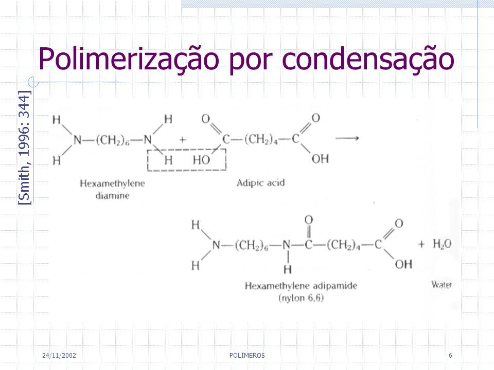 24/11/2002 POLÏMEROS 6 Polimerização por condensação [Smith, 1996: 344]