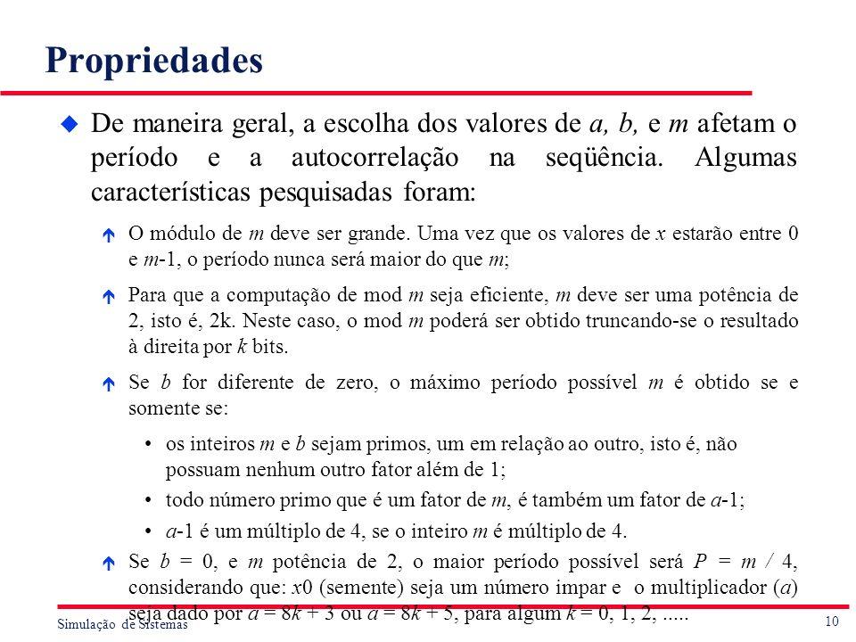 10 Simulação de Sistemas Propriedades u De maneira geral, a escolha dos valores de a, b, e m afetam o período e a autocorrelação na seqüência. Algumas