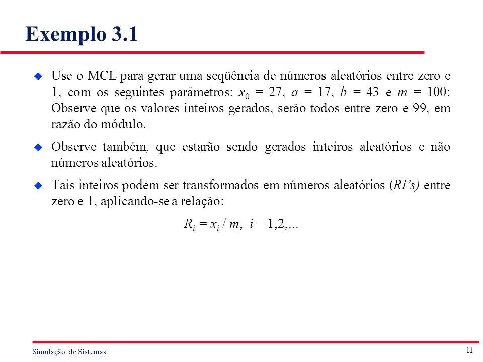 11 Simulação de Sistemas Exemplo 3.1 u Use o MCL para gerar uma seqüência de números aleatórios entre zero e 1, com os seguintes parâmetros: x 0 = 27,