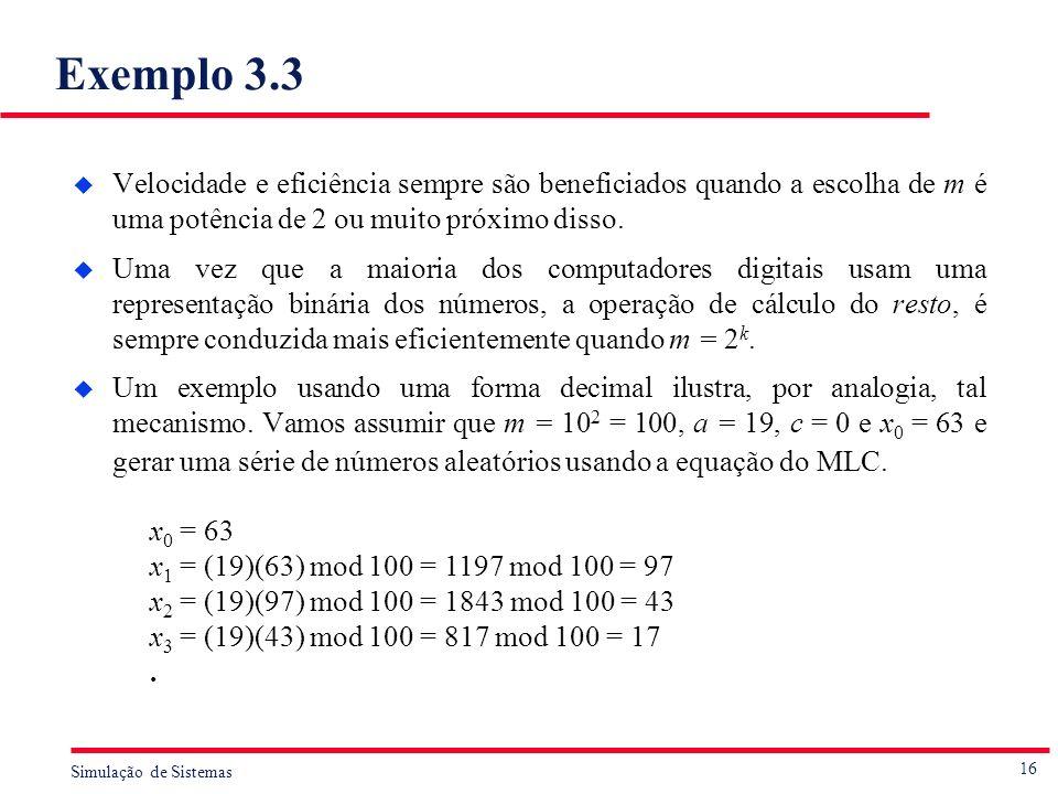 16 Simulação de Sistemas Exemplo 3.3 u Velocidade e eficiência sempre são beneficiados quando a escolha de m é uma potência de 2 ou muito próximo diss