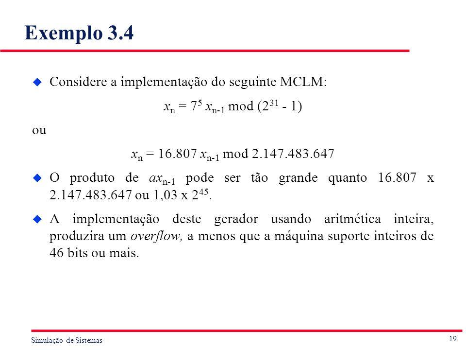 19 Simulação de Sistemas Exemplo 3.4 u Considere a implementação do seguinte MCLM: x n = 7 5 x n-1 mod (2 31 - 1) ou x n = 16.807 x n-1 mod 2.147.483.