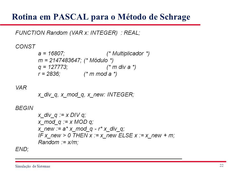 22 Simulação de Sistemas Rotina em PASCAL para o Método de Schrage FUNCTION Random (VAR x: INTEGER) : REAL; CONST a = 16807;(* Multiplicador *) m = 21
