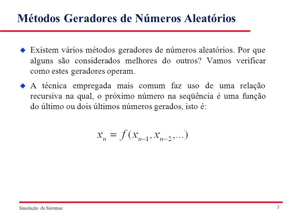 3 Simulação de Sistemas Métodos Geradores de Números Aleatórios u Existem vários métodos geradores de números aleatórios. Por que alguns são considera