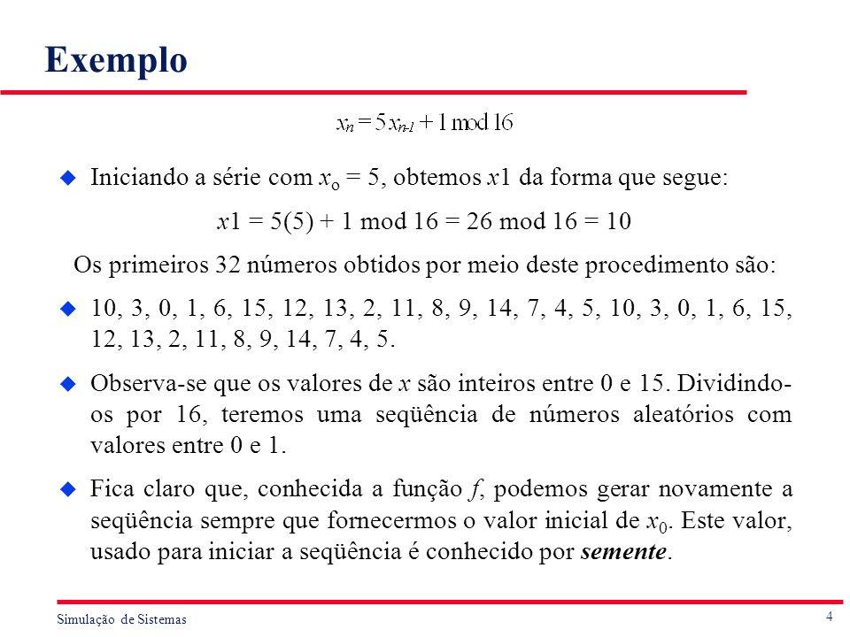 4 Simulação de Sistemas Exemplo u Iniciando a série com x o = 5, obtemos x1 da forma que segue: x1 = 5(5) + 1 mod 16 = 26 mod 16 = 10 Os primeiros 32