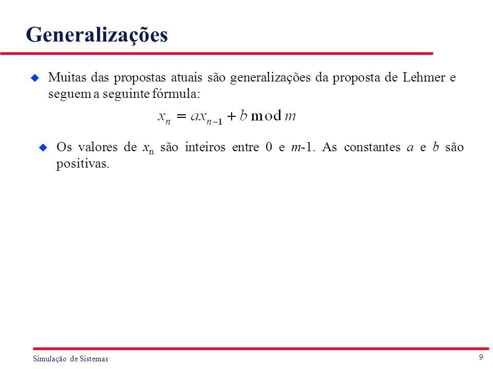 9 Simulação de Sistemas Generalizações u Muitas das propostas atuais são generalizações da proposta de Lehmer e seguem a seguinte fórmula: u Os valore
