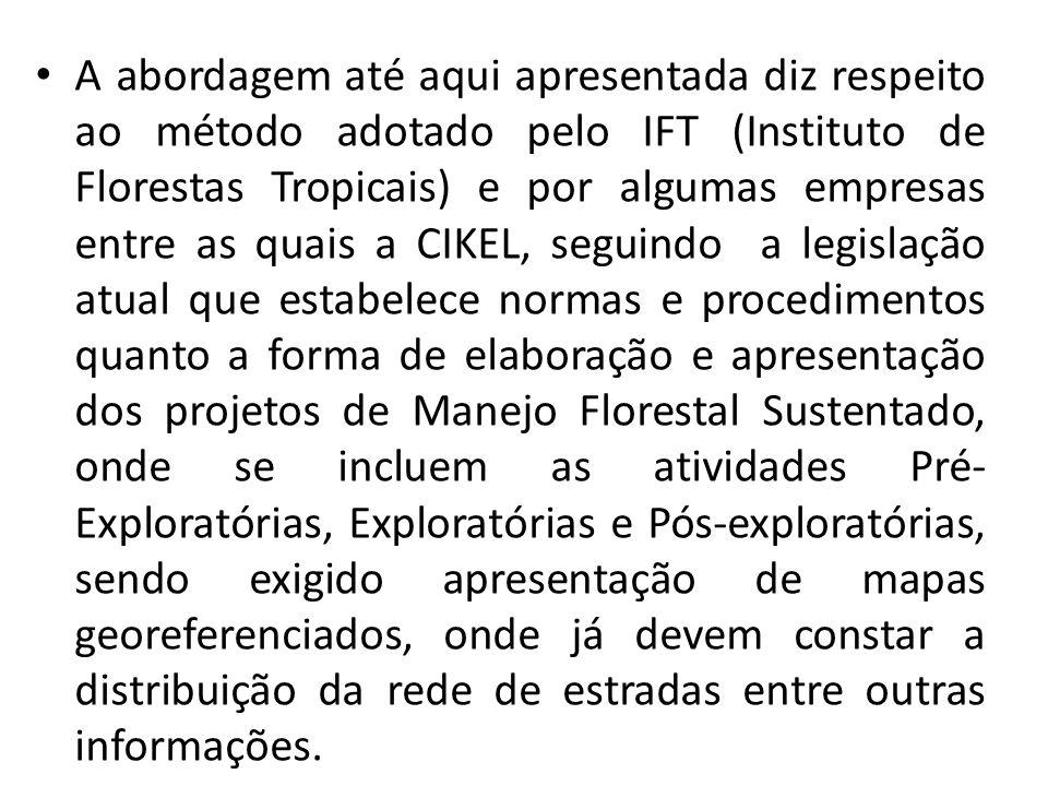 A abordagem até aqui apresentada diz respeito ao método adotado pelo IFT (Instituto de Florestas Tropicais) e por algumas empresas entre as quais a CI