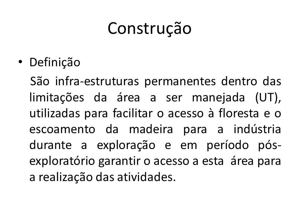 Construção Definição São infra-estruturas permanentes dentro das limitações da área a ser manejada (UT), utilizadas para facilitar o acesso à floresta