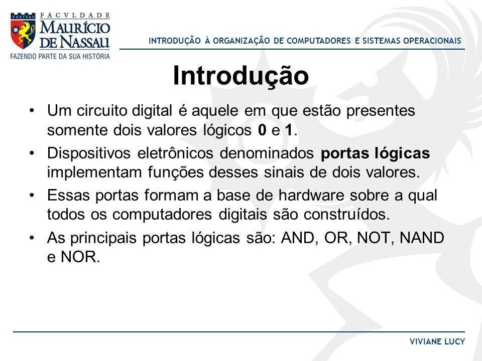 INTRODUÇÃO À ORGANIZAÇÃO DE COMPUTADORES E SISTEMAS OPERACIONAIS VIVIANE LUCY Introdução Um circuito digital é aquele em que estão presentes somente d