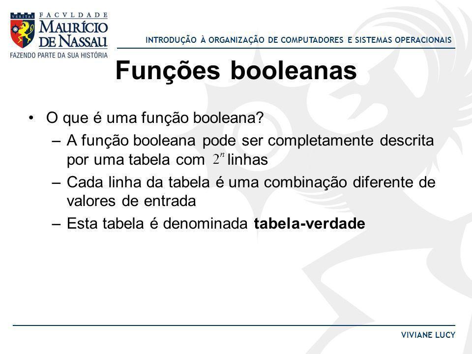 INTRODUÇÃO À ORGANIZAÇÃO DE COMPUTADORES E SISTEMAS OPERACIONAIS VIVIANE LUCY Funções booleanas O que é uma função booleana? –A função booleana pode s