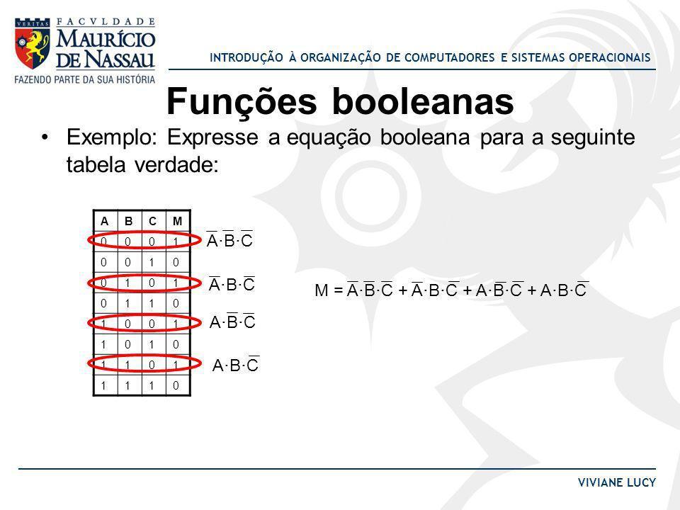 INTRODUÇÃO À ORGANIZAÇÃO DE COMPUTADORES E SISTEMAS OPERACIONAIS VIVIANE LUCY Funções booleanas Exemplo: Expresse a equação booleana para a seguinte t