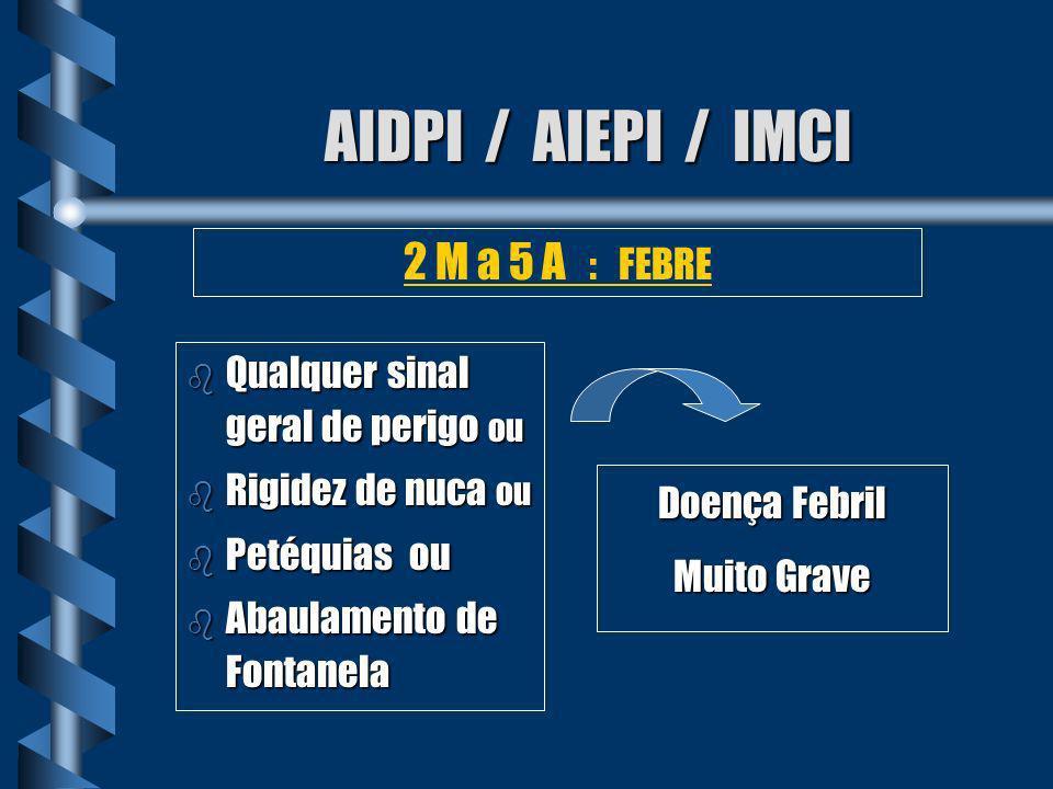 AIDPI / AIEPI / IMCI b Nenhum sinal de doença febril muito grave Doença Febril 2 M a 5 A : FEBRE