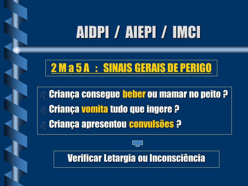 AIDPI / AIEPI / IMCI b Qualquer sinal geral de perigo b Tiragem Subcostal b Estridor em repouso 2 M a 5 A : TOSSE OU DIF EM RESPIRAR Pneumonia Grave ou Doença Muito Grave