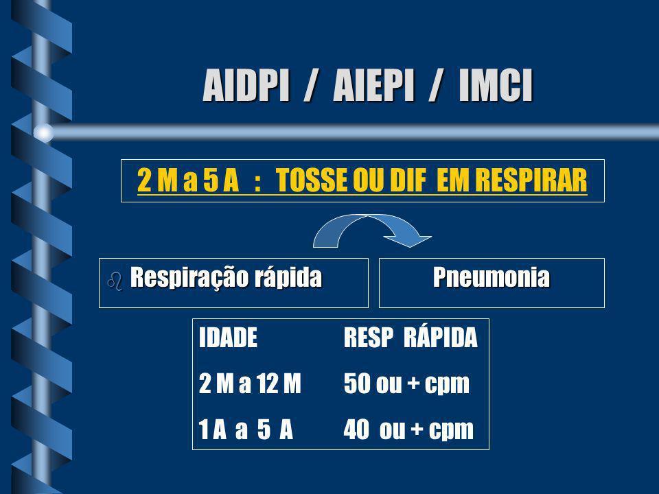AIDPI / AIEPI / IMCI b Nenhum sinal de pneumonia ou doença muito grave 2 M a 5 A : TOSSE OU DIF EM RESPIRAR Não é Pneumonia
