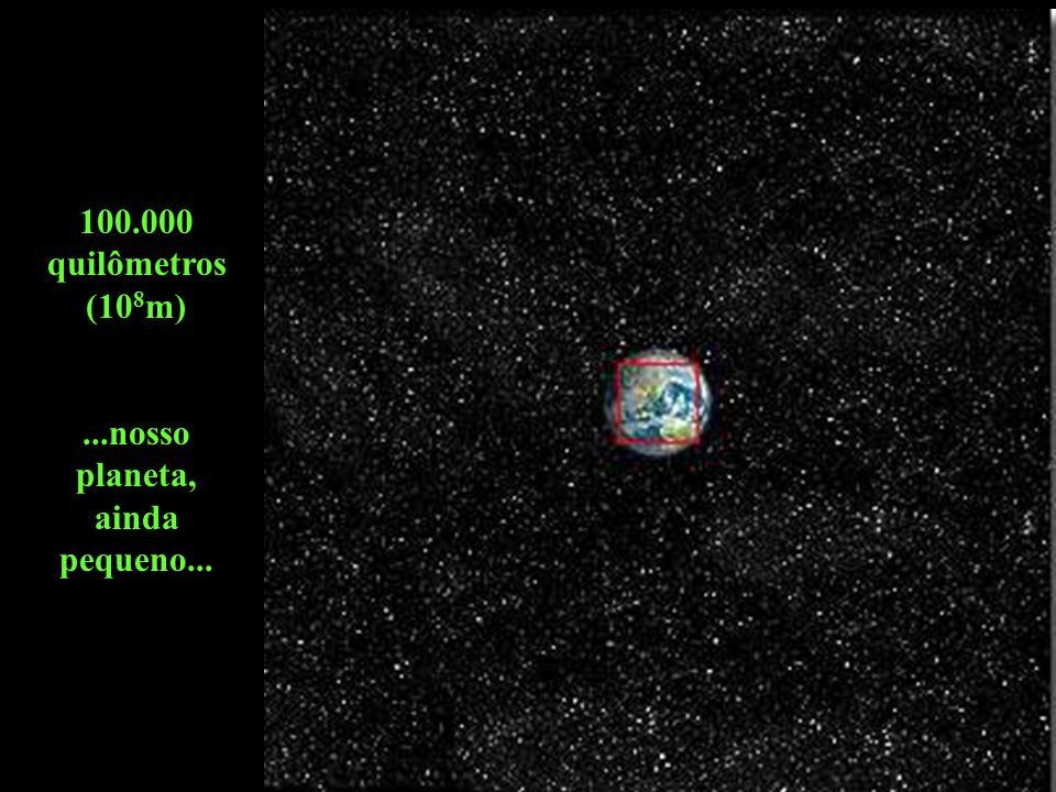 1 milhão de quilômetros (10 9 m)...podem ser vistas a Terra e a órbita da Lua...