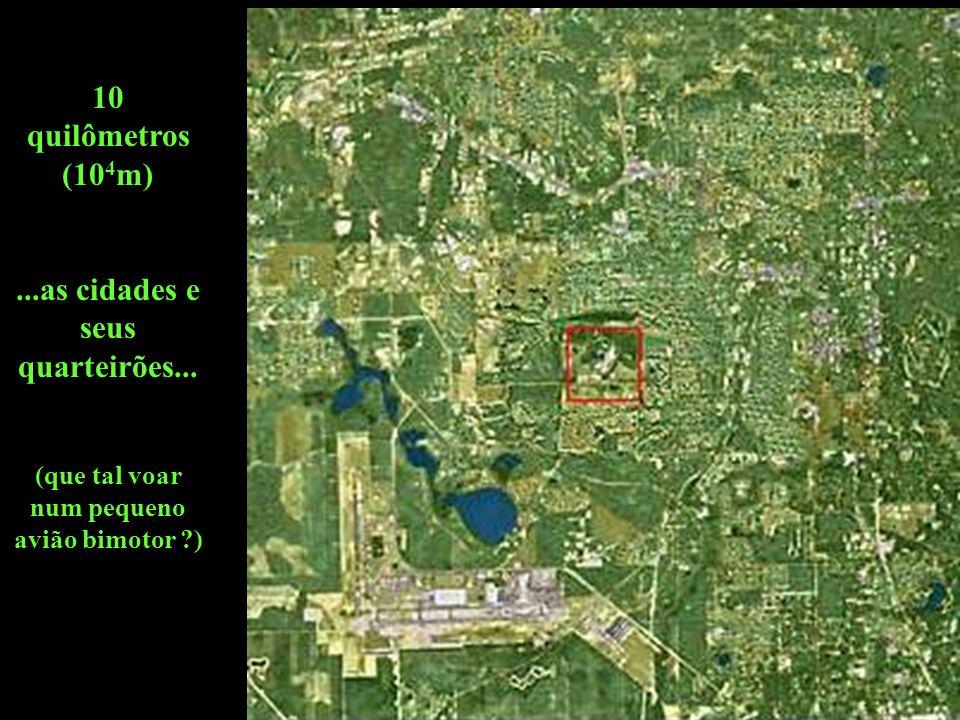 10 quilômetros (10 4 m)...as cidades e seus quarteirões...
