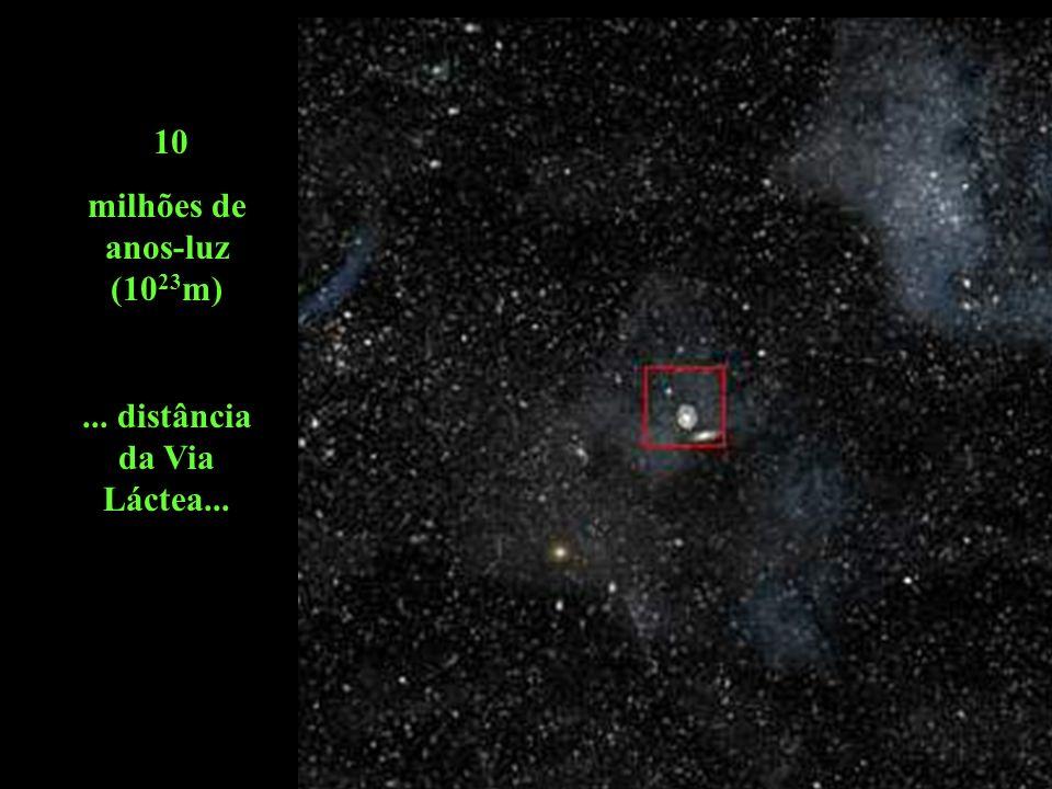 Prepare-se para uma viagem fantástica......começa na fronteira de nossa galáxia a 10 milhões de anos-luz (10 23 m) e termina no interior do átomo a 10