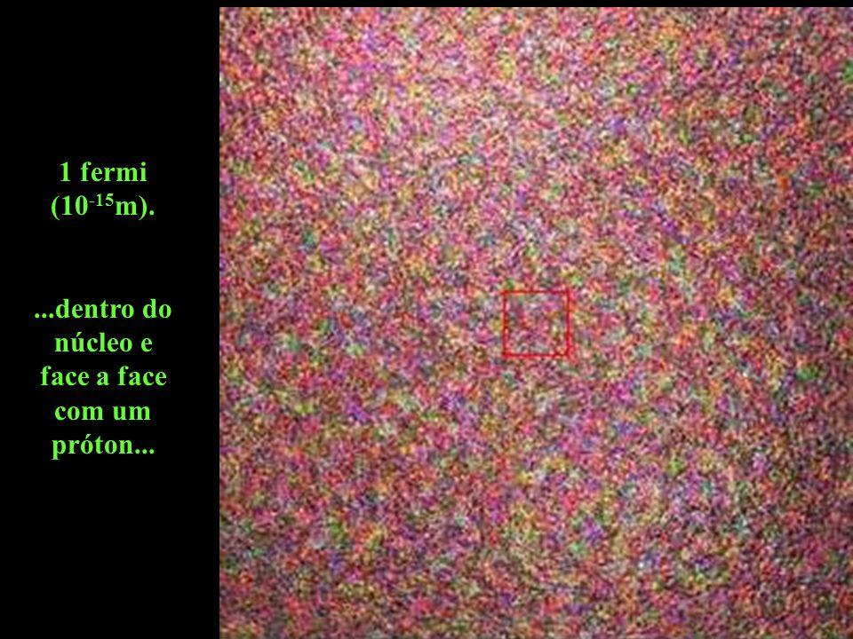 1 fermi (10 -15 m)....dentro do núcleo e face a face com um próton...