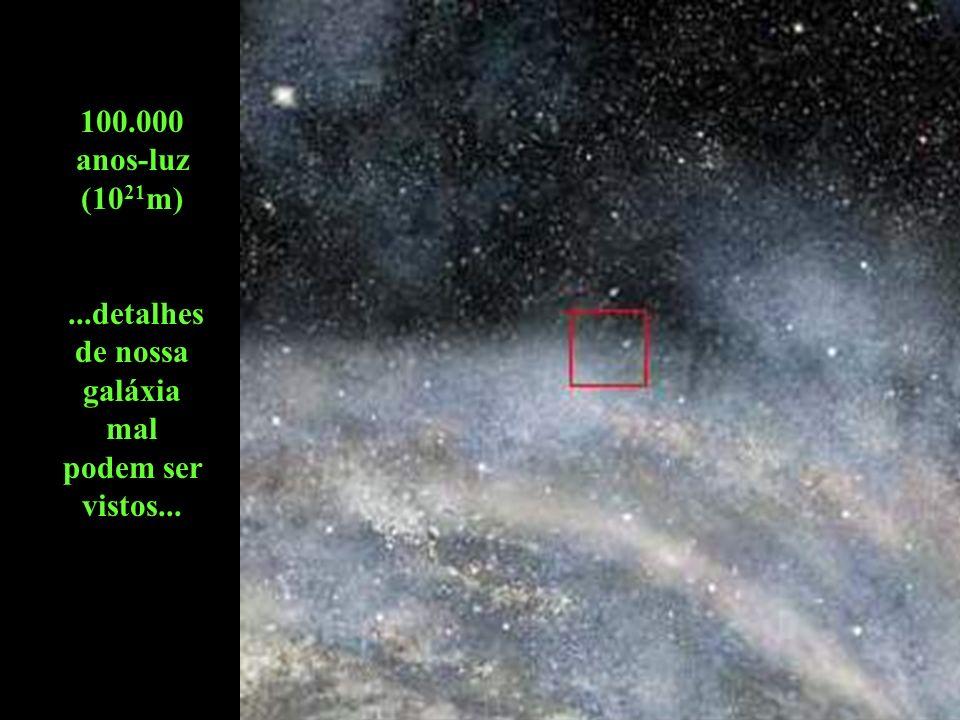 1 milhão de anos-luz (10 22 m)... a forma espiralada de nossa galáxia torna-se visível...