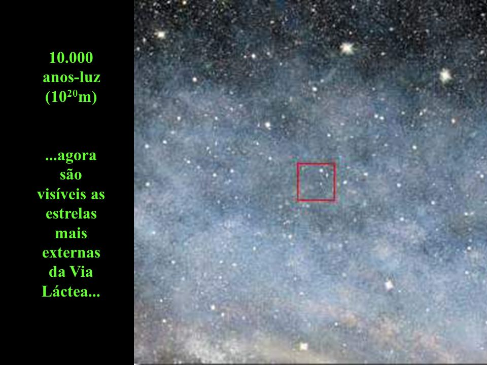 10.000 anos-luz (10 20 m)...agora são visíveis as estrelas mais externas da Via Láctea...