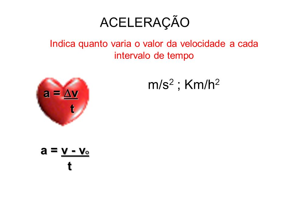 VELOCIDADE Indica quanto o móvel se desloca a cada intervalo de tempo V = S t m/s ; Km/h x 3,6 m/s Km/h : 3,6