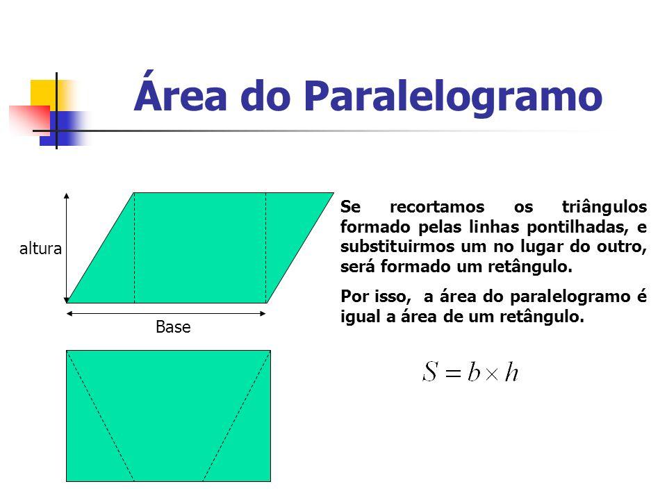 Área do Triângulo Se dividirmos um paralelogramo ao meio, teremos dois triângulos, logo posso fazer que a área do triângulo é: Base ( b ) altura h
