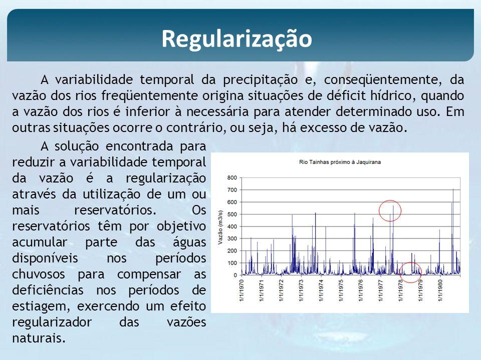 A variabilidade temporal da precipitação e, conseqüentemente, da vazão dos rios freqüentemente origina situações de déficit hídrico, quando a vazão do