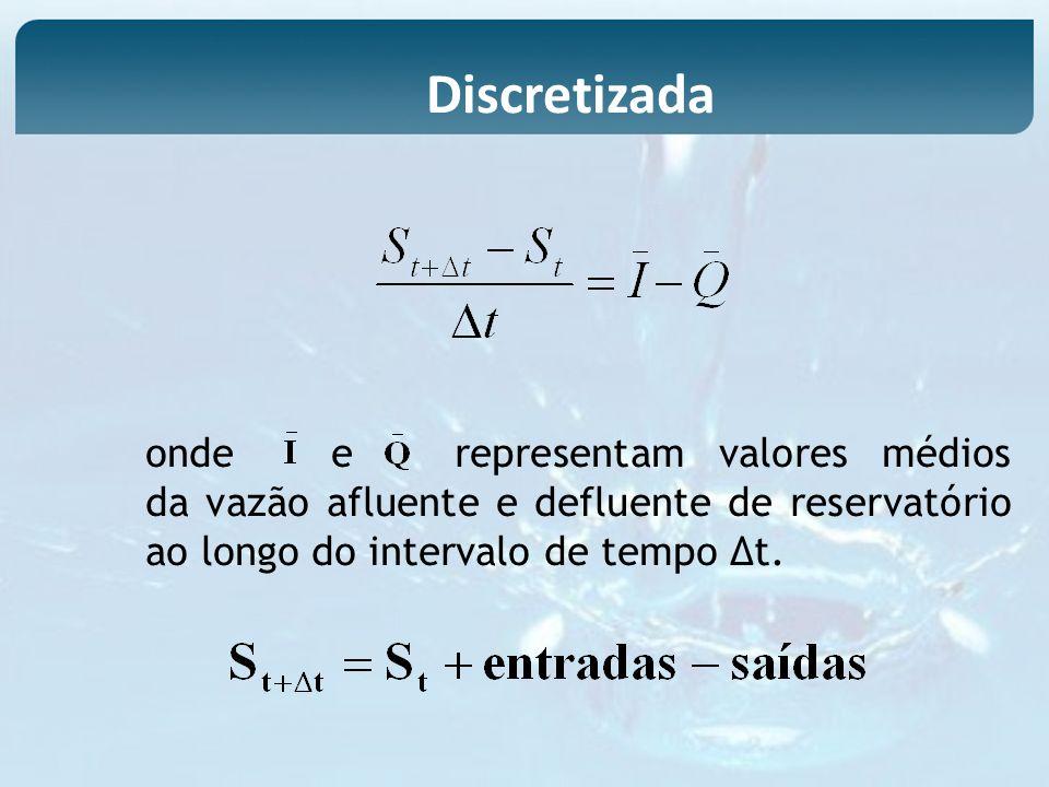 ondeerepresentam valores médios da vazão afluente e defluente de reservatório ao longo do intervalo de tempo t. Discretizada