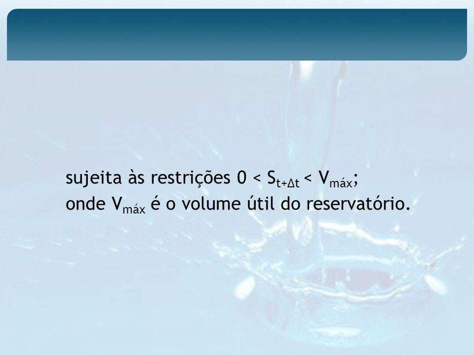 sujeita às restrições 0 < S t+t < V máx ; onde V máx é o volume útil do reservatório.