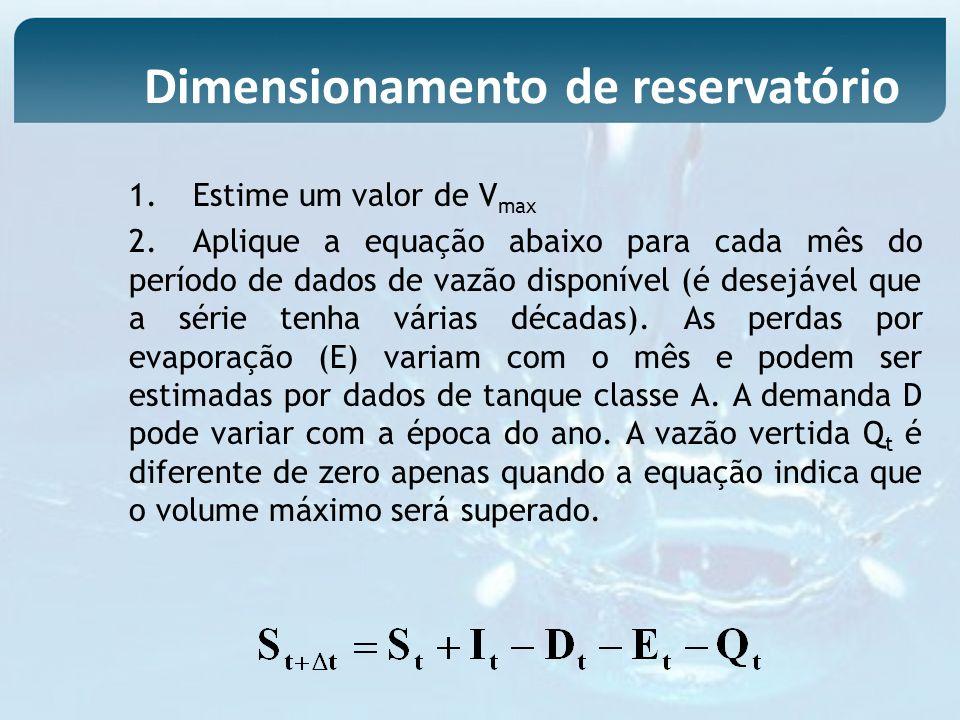 1.Estime um valor de V max 2.Aplique a equação abaixo para cada mês do período de dados de vazão disponível (é desejável que a série tenha várias déca