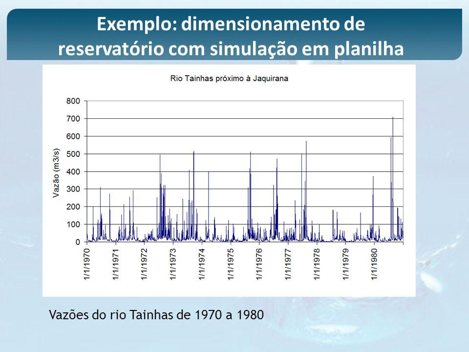 Vazões do rio Tainhas de 1970 a 1980 Exemplo: dimensionamento de reservatório com simulação em planilha