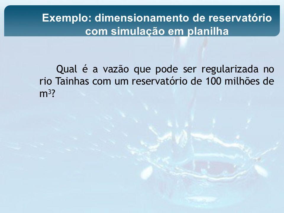Qual é a vazão que pode ser regularizada no rio Tainhas com um reservatório de 100 milhões de m 3 ? Exemplo: dimensionamento de reservatório com simul