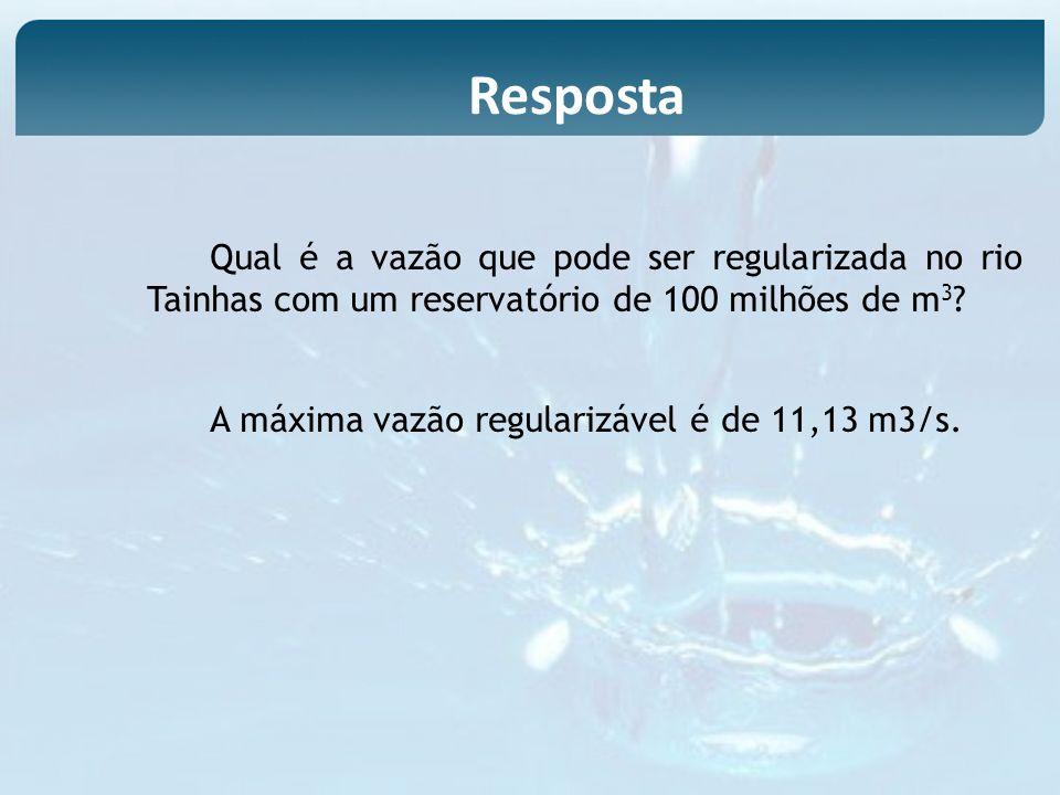 Qual é a vazão que pode ser regularizada no rio Tainhas com um reservatório de 100 milhões de m 3 ? A máxima vazão regularizável é de 11,13 m3/s. Resp