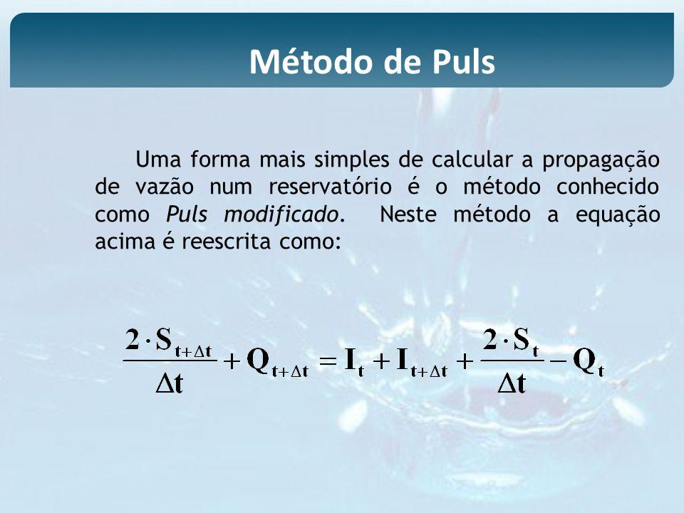Uma forma mais simples de calcular a propagação de vazão num reservatório é o método conhecido como Puls modificado. Neste método a equação acima é re