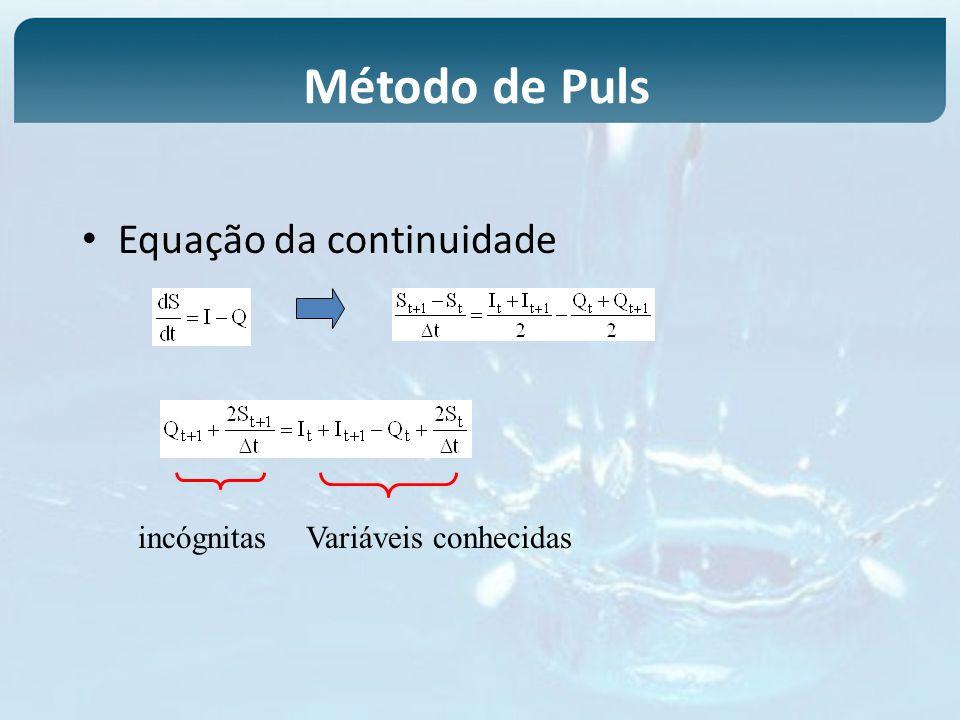 Equação da continuidade Variáveis conhecidasincógnitas Método de Puls