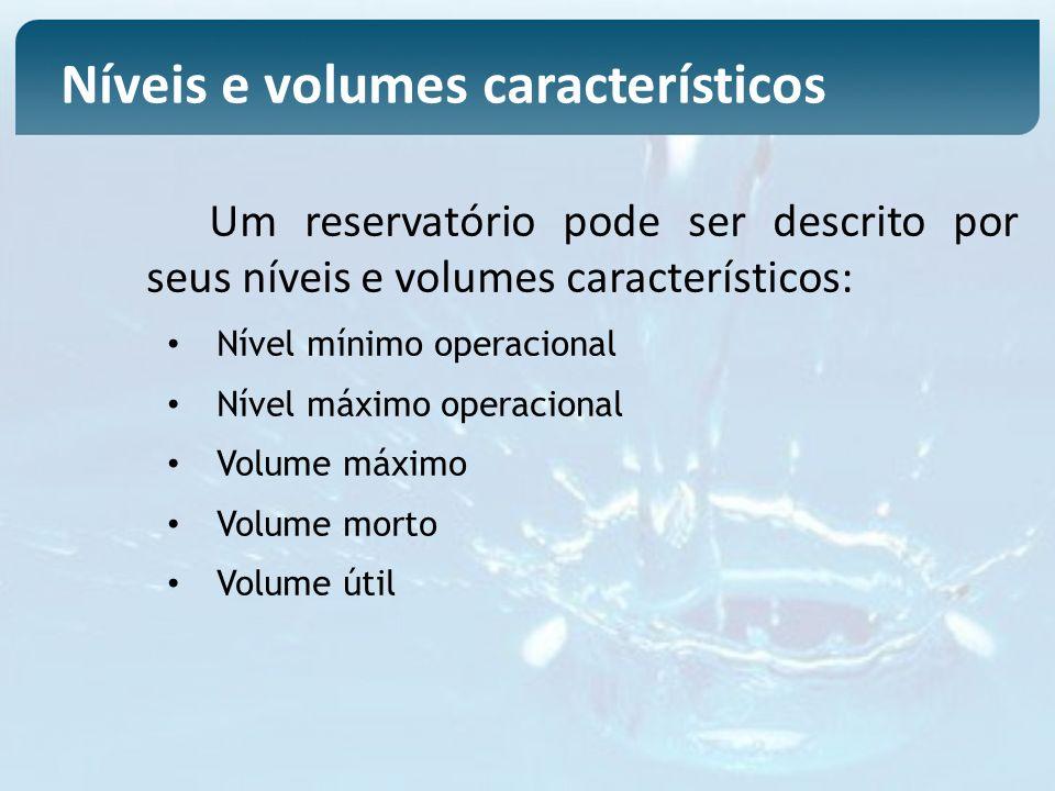 Um reservatório pode ser descrito por seus níveis e volumes característicos: Nível mínimo operacional Nível máximo operacional Volume máximo Volume mo